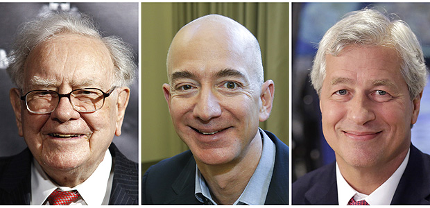"""This combination of photos from left shows Warren Buffett on Sept. 19, 2017, in New York, Jeff Bezos, CEO of Amazon.com, on Sept. 24, 2013, in Seattle and JP Morgan Chase Chairman and CEO Jamie Dimon on July 12, 2013, in New York. Buffett?s Berkshire Hathaway, Amazon and the New York bank JPMorgan Chase are teaming up to create a health care company announced Tuesday, Jan. 30, 2018, that is """"free from profit-making incentives and constraints."""" (AP Photos) ORG XMIT: NYAG202"""