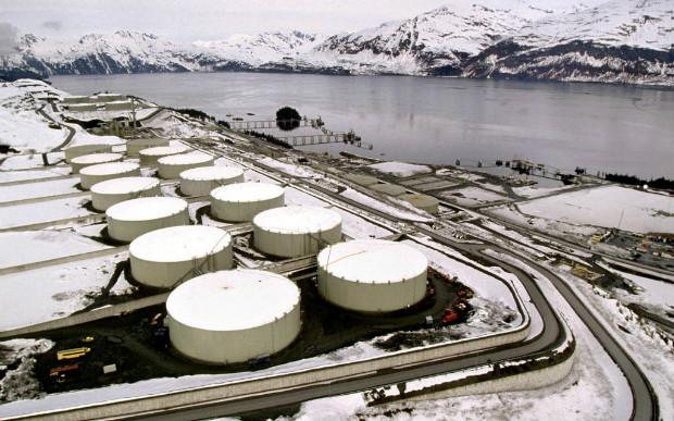 Foto de refinaria em Valdez, Alasca