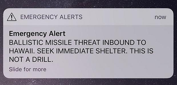 """""""Ameaça de mísseis balísticos atingindo o Havaí. Procure abrigo imediatamente. Isto não é um teste"""""""
