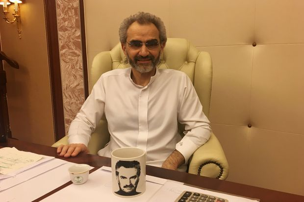 Saudi Arabian billionaire Prince Alwaleed bin Talal sits for an interview with Reuters in the office of the suite where he has been detained at the Ritz-Carlton in Riyadh, Saudi Arabia January 27, 2018, REUTERS/Katie Paul ORG XMIT: SA103