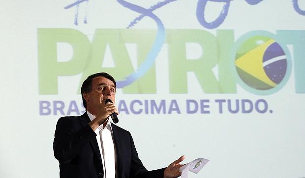 O deputado Jair Bolsonaro durante palestra no centro de eventos em Ribeirao Preto