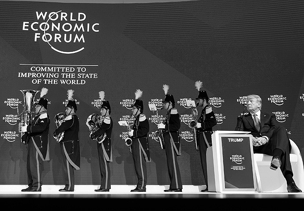 O presidente dos Estados Unidos, Donald Trump, durante o Fórum Econômico Mundial, em Davos