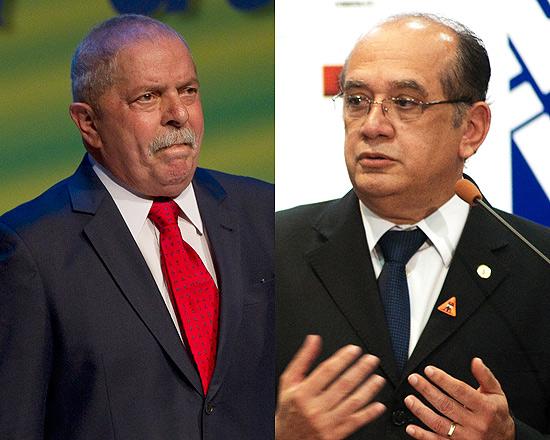 O ministro Gilmar Mendes (dir.), do Supremo, acusa Lula de comandar 'central de divulgação' de intrigas