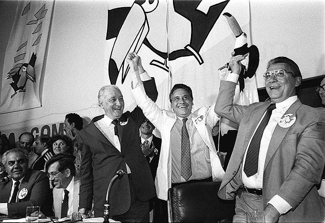 Franco Montouro, Fernando Henrique Cardoso e Mário Covas no ato de fundação do PSDB