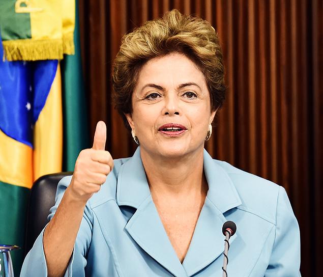 A presidente Dilma, no início de reunião com seu ministério nesta quinta