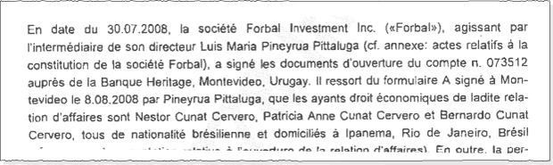 Documentos de contas de empresas utilizadas por Cerveró e Cunha