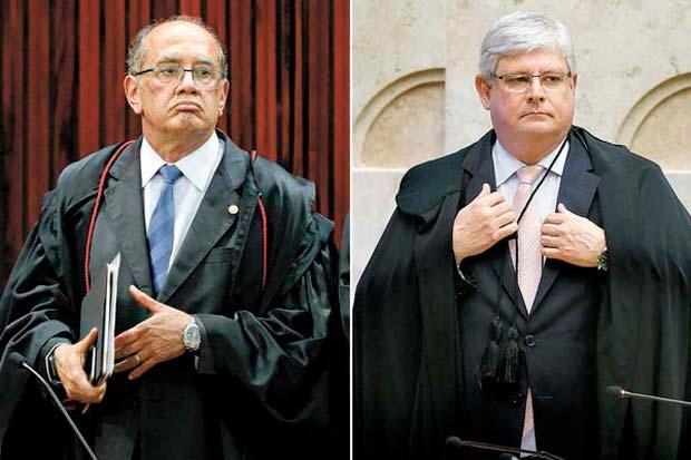O ministro do Supremo tribunal Federal Gilmar Mendes e rodrigo Janot, procurador-geral da república, chefe do MPF