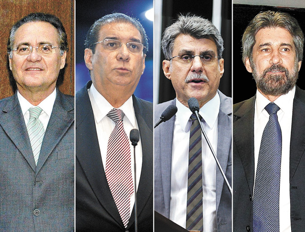 Os senadores peemedebistas Renan Calheiros (AL), Jader Barbalho (PA), Romero Jucá (RR) e Valdir Raupp (RO)