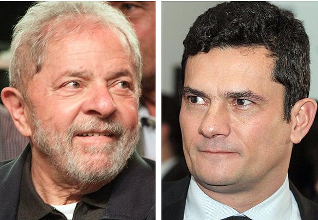 O ex-presidente Lula e o juiz Sergio Moro, da Lava Jato