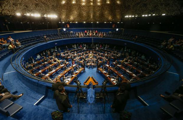 BRASILIA, DF, BRASIL, 24-08-2016, 18h00: Plenário do senado durante a votação da DRU na noite de hoje. O senador Renan Calheiros (PMDB-AL) preside a sessão. (Foto: Pedro Ladeira/Folhapress, PODER)