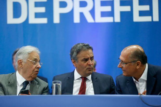 Fernando Henrique Cardoso, Aécio Neves e Geraldo Alckmin no encontro de prefeitos do PSDB em Brasília