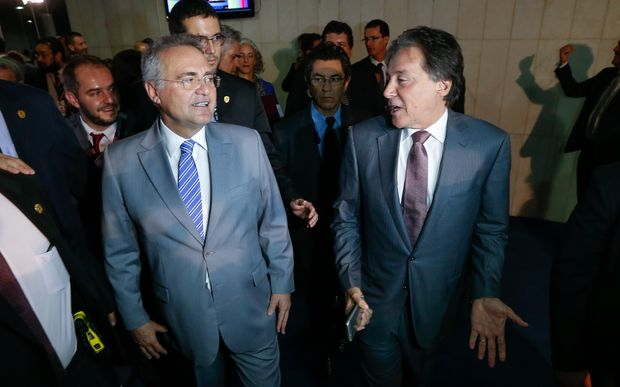 Senadores do PMDB Renan Calheiros (AL) e Eunício Oliveira (CE)