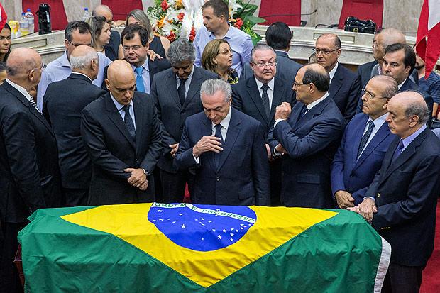 O presidente Michel Temer, durante velório do ministro Teori Zavascki