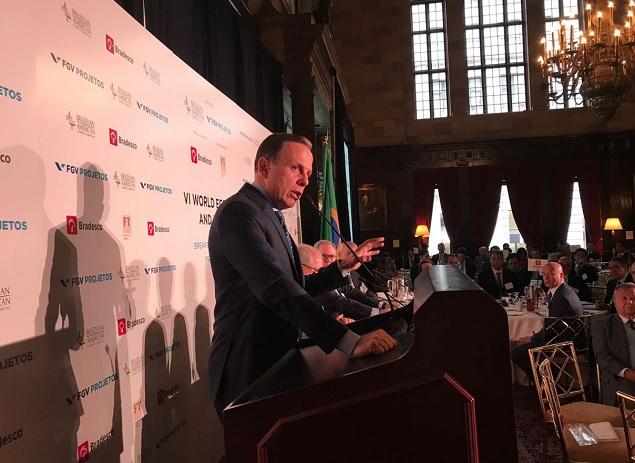 O prefeito de São Paulo, João Doria, em evento em Nova York