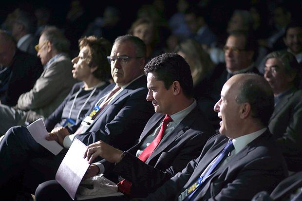 O juiz Sergio Moro, em evento sobre as operações Mãos Limpas e Lava Jato