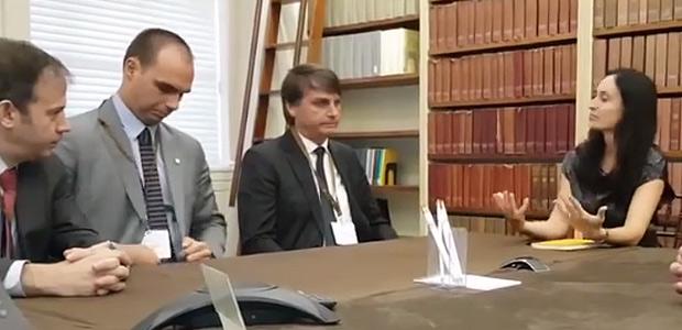 Gerald Brant, Eduardo Bolsonaro, Jair Bolsonaro e Shannon O'Neil, no Council of Foreign Relations, em Nova York