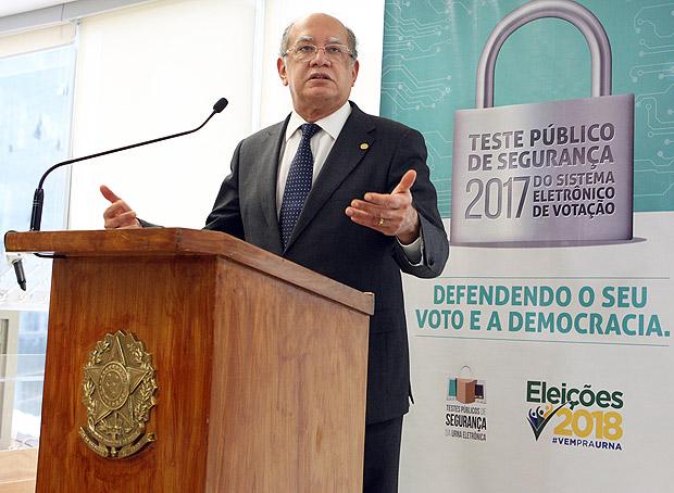 Apresentação de novo sistema do TSE, com o ministro Gilmar Mendes.