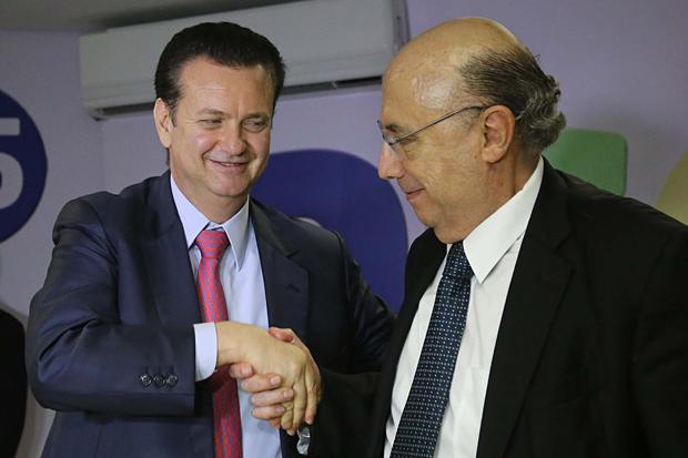 Gilberto Kassab e Henrique Meirelles em evento do PSD em 2014