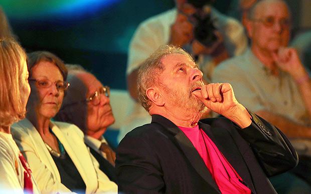 O ex-presidente Lula durante evento em sua defesa em São Paulo, no dia 18