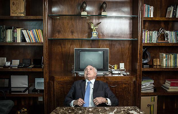 O presidente Michel Temer durante entrevista em São Paulo
