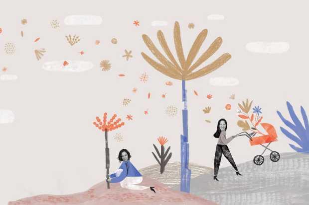 A partir da esquerda: a artes� Gabriella Ara�jo e a editora Alyne Azuma em ilustra��o de Ana Matsusaki