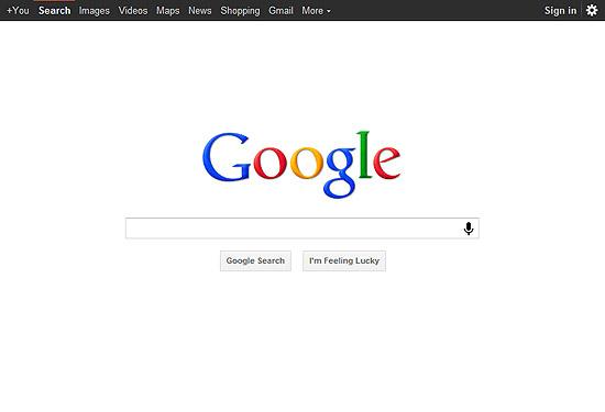 Página inicial de busca do Google; que agora conta com novo algoritmo