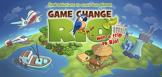 """Tela inicial do jogo on-line """"Game Change Rio"""", que explica a conferência ambiental Rio+20"""