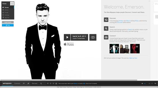 Página da nova versão da rede social Myspace