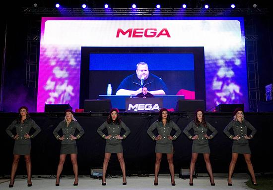 Festa de lançamento do Mega, na mansão de Dotcom, em Auckland (Nova Zelândia)