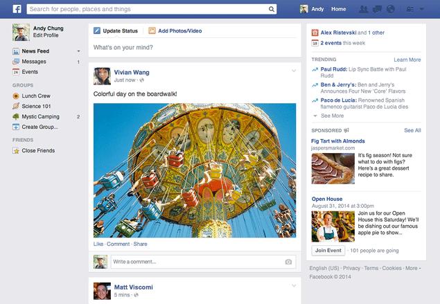 Novo feed de notícias que os usuários do Facebook estão recebendo gradativamente