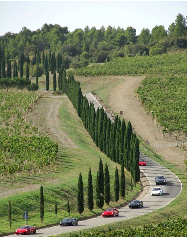Motorista pilotam Ferraris na Itália