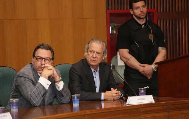 Ex-ministro José Dirceu, preso na Operação Lava Jato, presta depoimento à CPI da Petrobras, no prédio da Justiça Federal em Curitiba