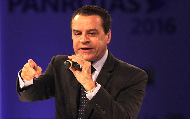 O ex-ministro do Turismo, Henrique Eduardo Alves, em evento em março
