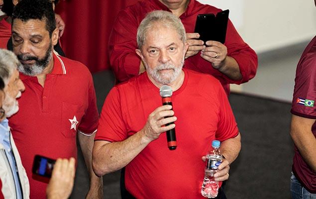 Ex-presidente Lula acompanha o julgamento na sede do Sindicato dos Metalúrgicos do ABC, em São Bernardo do Campo (Grande SP)