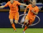 Sneijder na comemoração do seu gol