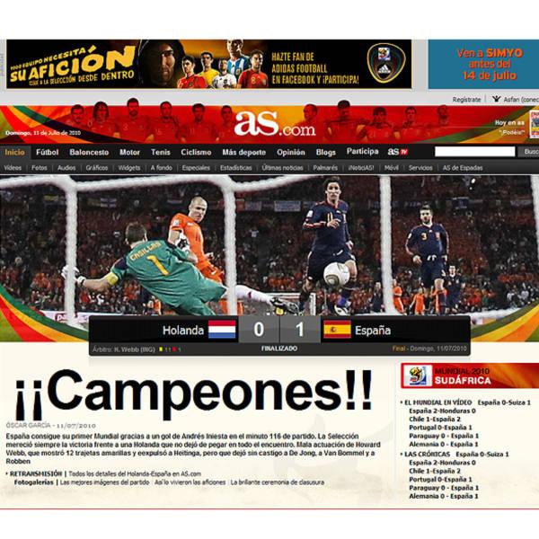 Os sites celebram o título espanhol
