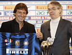 Leonardo é apresentado como novo técnico ao lado do presidente da Inter de Milão, Massimo Moratti <a href=