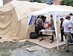 Vista de hospital montado na cidade de Teresópolis para ajudar as vítimas das fortes chuvas que afetam a região Leia Mais