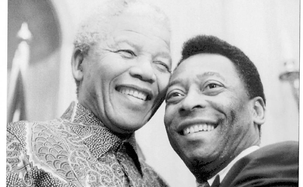 Encontro de Nelson Mandela com Pelé e outras personalidades