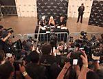 Christina Aguilera durante coletiva de imprensa no quinto dia da edição de inverno 2011 da SPFW <a href=