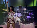 Katy Perry durante show na Chácara do Jockey em São Paulo
