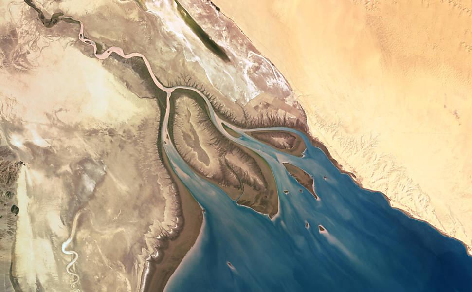 """Vistos do alto, deltas de rios viram """"arte moderna"""""""