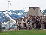 Uma casa destruida depois do terremoto, em Ferrara, na Itália