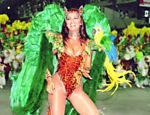 Como madrinha de bateria da Imperatriz no Carnaval de 1996