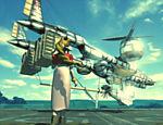 Aeris, personagem central na trama do jogo, obseva a nave Highwind