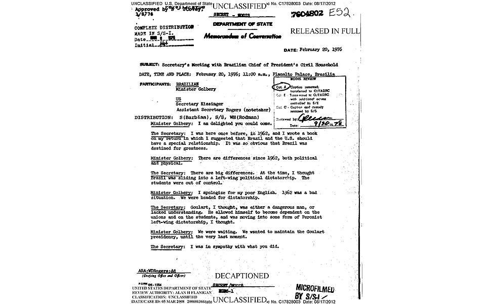 Telegrama com Golbery
