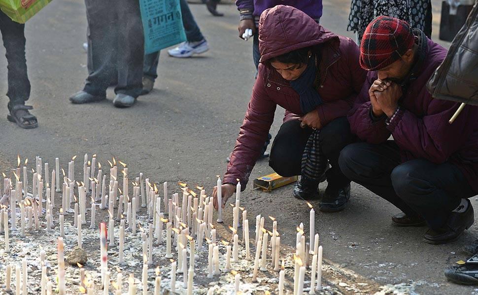 Protestos anti-estupro na Índia, em 2013