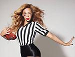 Beyonce com uma versão de uniforme de árbitro para divulgar o Super Bowl