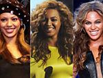 Beyoncé em três fases de sua carreira, em 2001, em 2012 e no Super Bowl em 2013