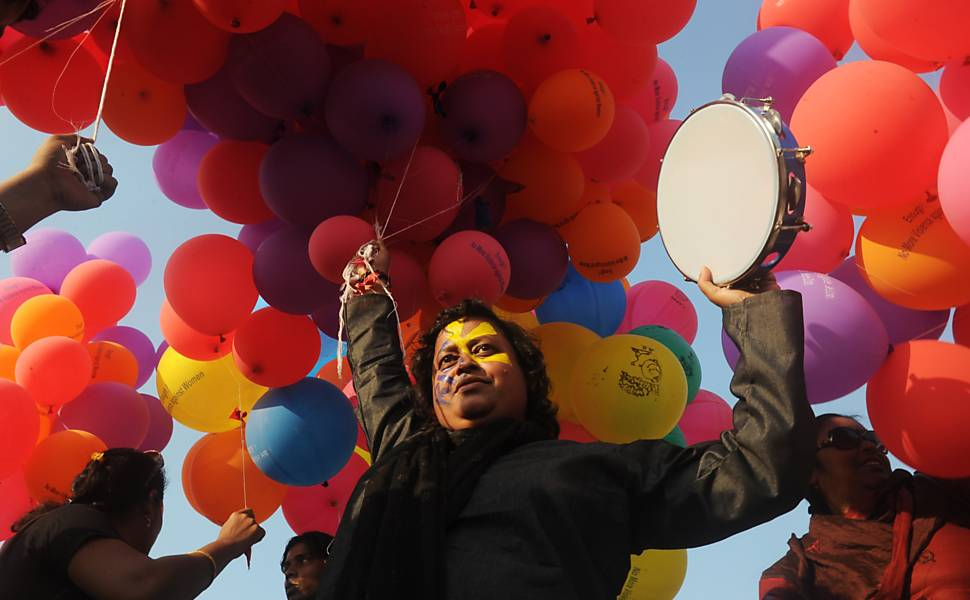 Protesto pelo fim da violência contra as mulheres no mundo